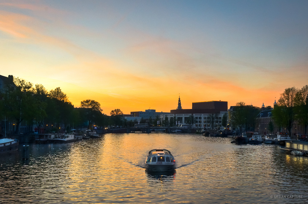 Amstel River Sunset Amsterdam The Netherlands 171 Urban
