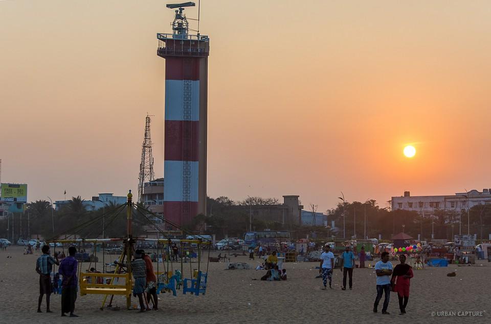 Gandhi Beach, Marina Lighthouse, Chennai, India